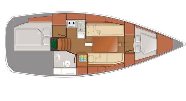 Trend Travel Yachting, Jeanneau Sun Odyssey 319. Grundriss 2