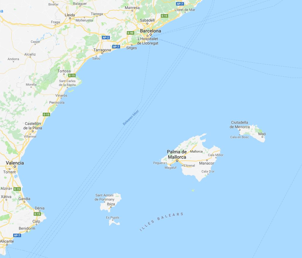 Trend Travel Yachting Charter Barcelona Mallorca Ibiza - Karte