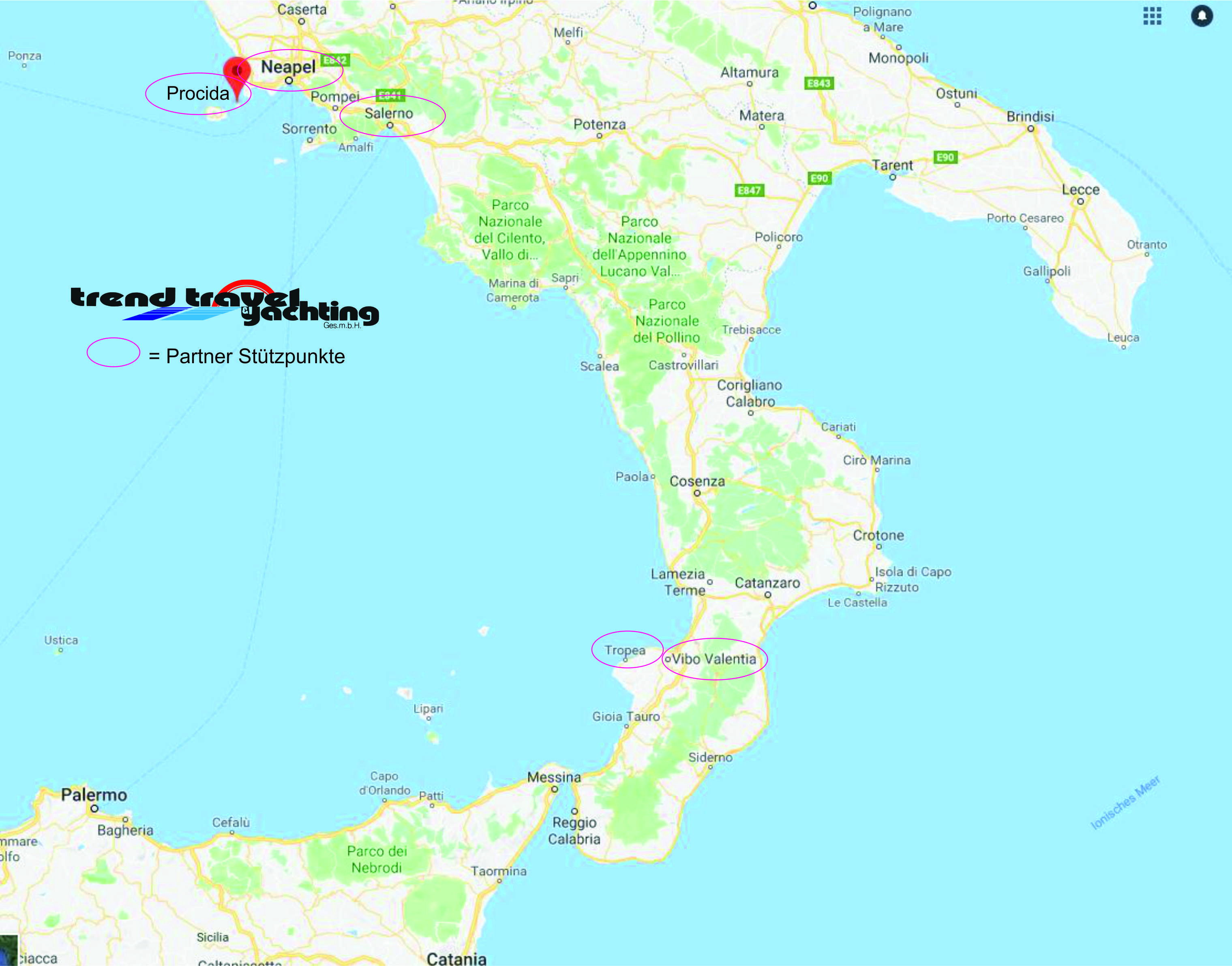 Trend Travel Yachting, Charter Italien -Neapel, Tropea, Salerno Karte
