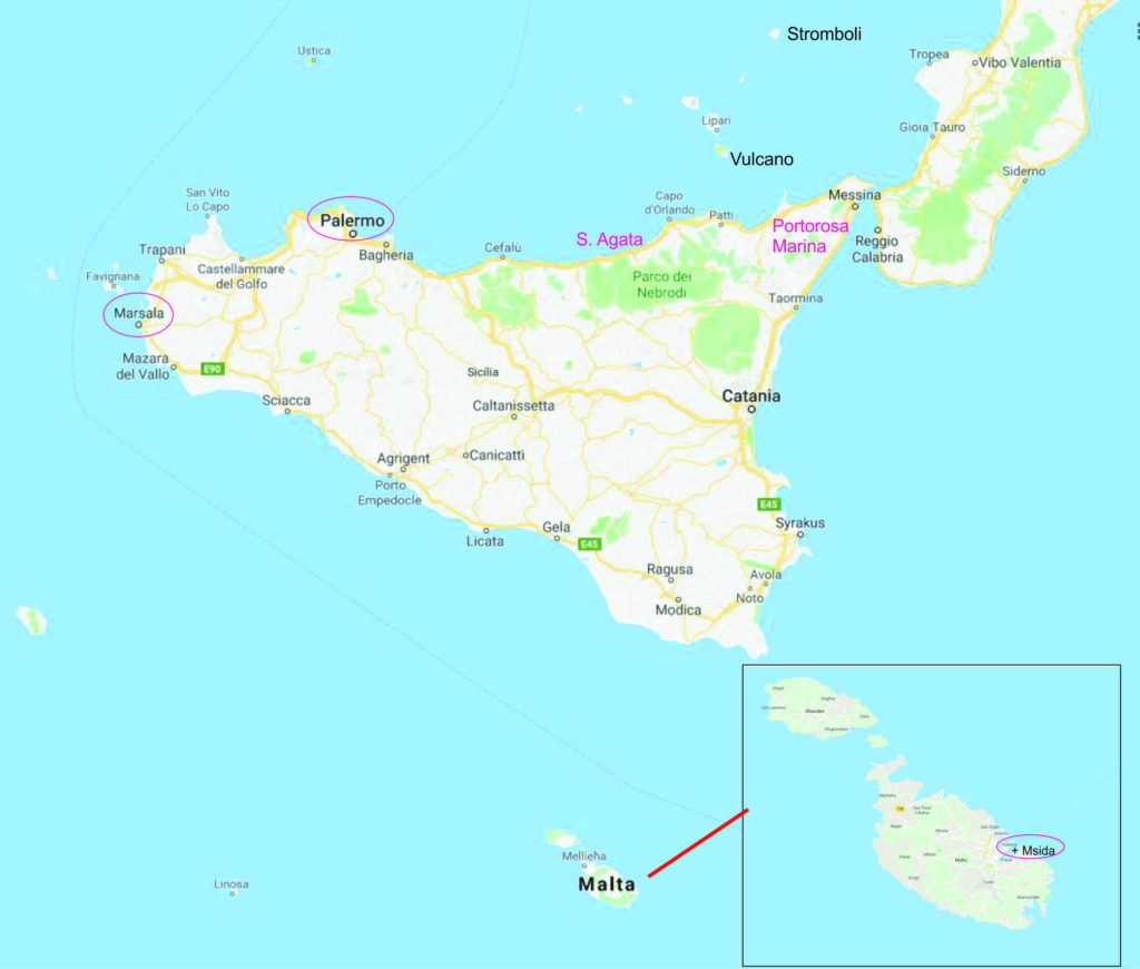Charter Sizilien und Malta - Revier Karte