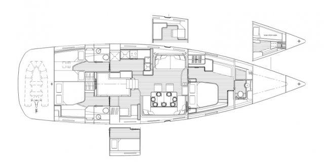Trend Travel Yachting. Jeanneau Kaufen oder Chartern beim Segelspezialisten. Jeanneau Yacht 64, Grundriss (2)