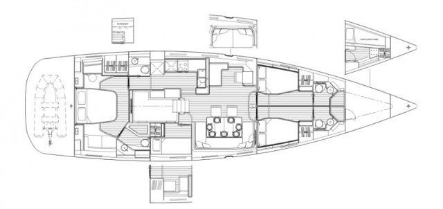 Trend Travel Yachting. Jeanneau Kaufen oder Chartern beim Segelspezialisten. Jeanneau Yacht 64, Grundriss (1)