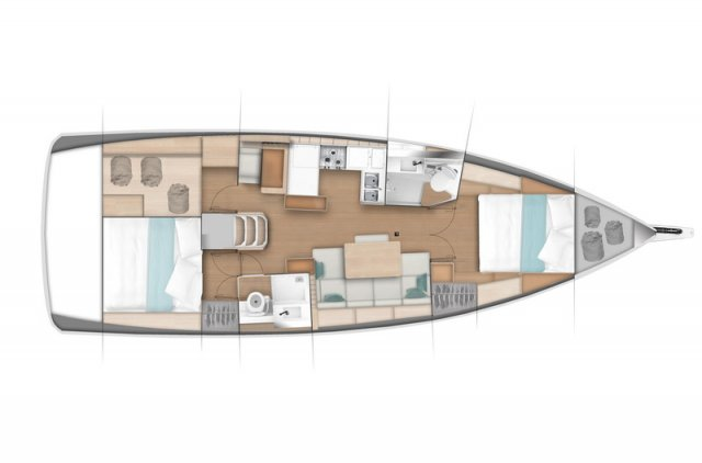 Trend Travel Yachting, Jeanneau Sun Odyssey 440, Yacht of the Year 2018. Grundriss 2 Kabinen