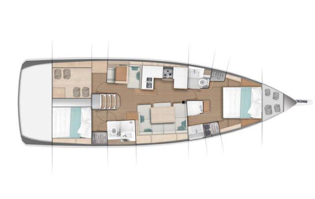 Trend Travel Yachting Jeanneau Sun Odyssey 490, Chartern oder Kaufen. Grundriss 2 Kabinen