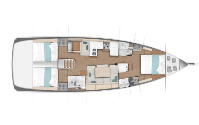 Trend Travel Yachting Jeanneau Sun Odyssey 490, Chartern oder Kaufen. Grundriss 3 Kabinen