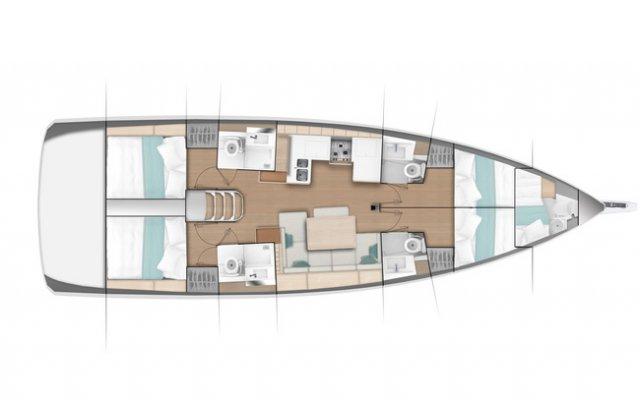 Trend Travel Yachting Jeanneau Sun Odyssey 490, Chartern oder Kaufen. Grundriss 5 Kabinen