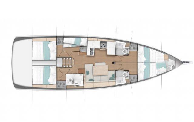 Trend Travel Yachting Jeanneau Sun Odyssey 490, Chartern oder Kaufen. Grundriss 4 Kabinen