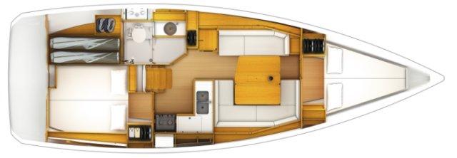 Jeanneau Sun Odyssey 389 Grundriss 2 Kabinen