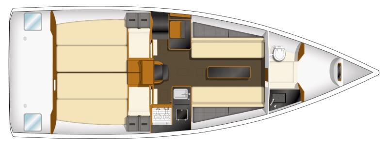 Trend Travel Yachting, Jeanneau Yachten Kaufen oder Chartern. Sun Fast 3200, Grundriss (2)