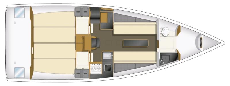 Trend Travel Yachting, Jeanneau Yachten Kaufen oder Chartern. Sun Fast 3200, Grundriss (1)