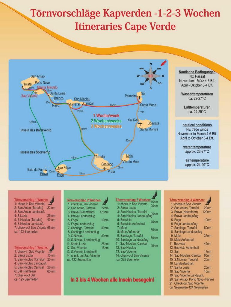 Trend Travel Yachting Kapverden Karte und Toernvorschlaege